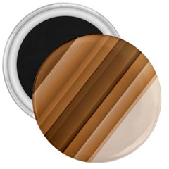 Metallic Brown/neige Stripes 3  Magnets by timelessartoncanvas