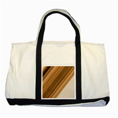 Metallic Brown/neige Stripes Two Tone Tote Bag by timelessartoncanvas