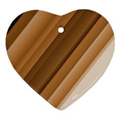 Metallic Brown/neige Stripes Heart Ornament (2 Sides) by timelessartoncanvas