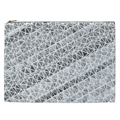 Silver Abstract And Stripes Cosmetic Bag (xxl)  by timelessartoncanvas
