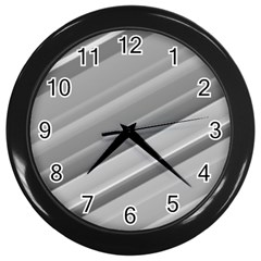 Elegant Silver Metallic Stripe Design Wall Clocks (black) by timelessartoncanvas