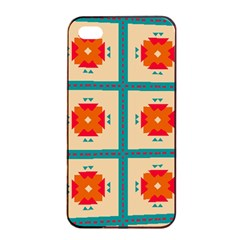 Shapes In Squares Pattern 			apple Iphone 4/4s Seamless Case (black) by LalyLauraFLM