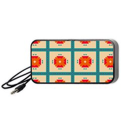 Shapes In Squares Pattern Portable Speaker by LalyLauraFLM