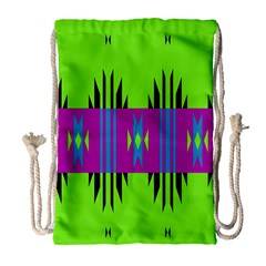 Tribal shapes on a green background Large Drawstring Bag by LalyLauraFLM