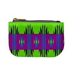 Tribal Shapes On A Green Background 	mini Coin Purse by LalyLauraFLM