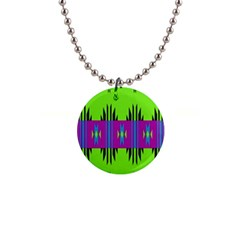 Tribal Shapes On A Green Background 			1  Button Necklace by LalyLauraFLM