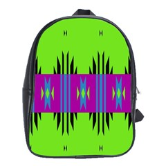 Tribal Shapes On A Green Background school Bag (large) by LalyLauraFLM