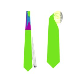 Tribal Shapes On A Green Background Necktie by LalyLauraFLM