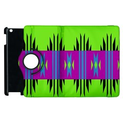 Tribal Shapes On A Green Background 			apple Ipad 2 Flip 360 Case by LalyLauraFLM
