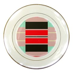 Rectangles In Retro Colors  			porcelain Plate by LalyLauraFLM
