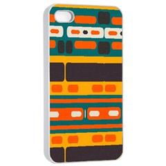 Rectangles In Retro Colors Texture apple Iphone 4/4s Seamless Case (white) by LalyLauraFLM
