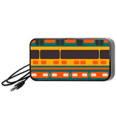 Rectangles In Retro Colors Texture Portable Speaker by LalyLauraFLM