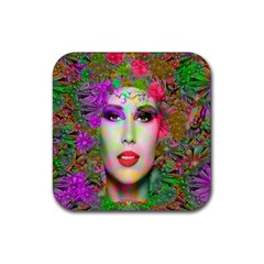 Flowers In Your Hair Rubber Coaster (square)  by icarusismartdesigns