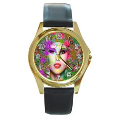 Flowers In Your Hair Round Gold Metal Watches by icarusismartdesigns