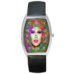 Flowers In Your Hair Barrel Metal Watches by icarusismartdesigns