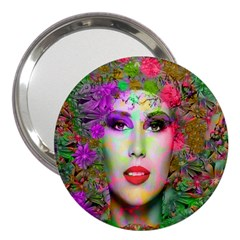Flowers In Your Hair 3  Handbag Mirrors by icarusismartdesigns