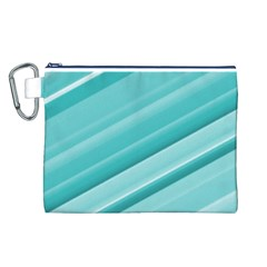 Teal And White Fun Canvas Cosmetic Bag (l) by timelessartoncanvas