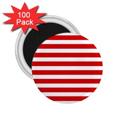 Red And White Stripes 2 25  Magnets (100 Pack)  by timelessartoncanvas