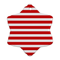 Red And White Stripes Snowflake Ornament (2 Side) by timelessartoncanvas