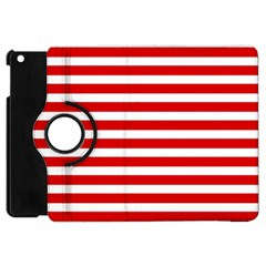 Red And White Stripes Apple Ipad Mini Flip 360 Case by timelessartoncanvas