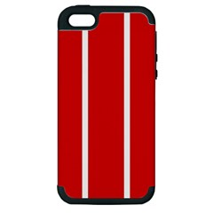 White And Red Stripes Apple Iphone 5 Hardshell Case (pc+silicone) by timelessartoncanvas