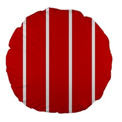 White and Red Stripes Large 18  Premium Flano Round Cushions by timelessartoncanvas