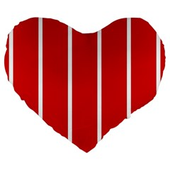 White And Red Stripes Large 19  Premium Flano Heart Shape Cushions by timelessartoncanvas