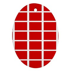Red Cubes Stripes Ornament (oval)  by timelessartoncanvas