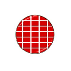 Red Cubes Stripes Hat Clip Ball Marker by timelessartoncanvas
