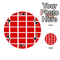 Red Cubes Stripes Playing Cards 54 (round)  by timelessartoncanvas