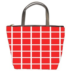 Red Cubes stripes Bucket Bags by timelessartoncanvas