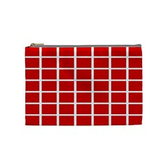 Red Cubes Stripes Cosmetic Bag (medium)  by timelessartoncanvas