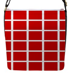 Red Cubes Stripes Flap Messenger Bag (s) by timelessartoncanvas