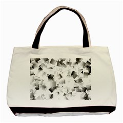 Gray And Silver Cubes Abstract Basic Tote Bag by timelessartoncanvas