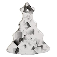 Gray And Silver Cubes Abstract Christmas Tree Ornament (2 Sides) by timelessartoncanvas