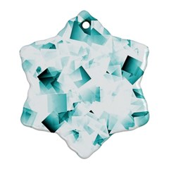 Modern Teal Cubes Snowflake Ornament (2 Side) by timelessartoncanvas