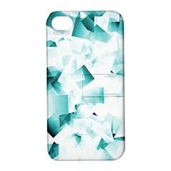 Modern Teal Cubes Apple Iphone 4/4s Hardshell Case With Stand by timelessartoncanvas
