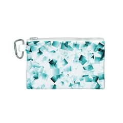 Modern Teal Cubes Canvas Cosmetic Bag (s) by timelessartoncanvas