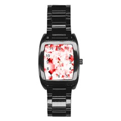 Modern Red Cubes Stainless Steel Barrel Watch by timelessartoncanvas