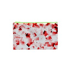 Modern Red Cubes Cosmetic Bag (xs) by timelessartoncanvas