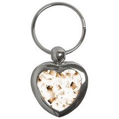 Modern Brown Cubes Key Chains (heart)  by timelessartoncanvas