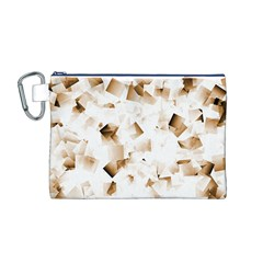 Modern Brown Cubes Canvas Cosmetic Bag (m) by timelessartoncanvas
