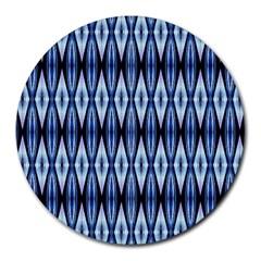 Blue White Diamond Pattern  Round Mousepads by Costasonlineshop