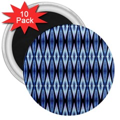 Blue White Diamond Pattern  3  Magnets (10 Pack)  by Costasonlineshop