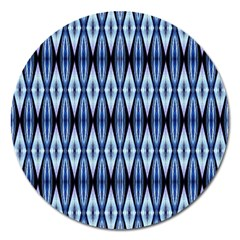 Blue White Diamond Pattern  Magnet 5  (round) by Costasonlineshop