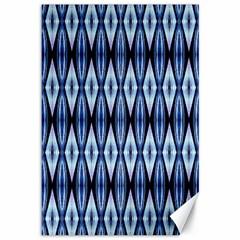 Blue White Diamond Pattern  Canvas 12  X 18   by Costasonlineshop