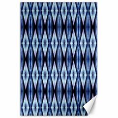 Blue White Diamond Pattern  Canvas 20  X 30   by Costasonlineshop