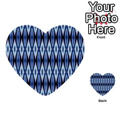 Blue White Diamond Pattern  Multi Purpose Cards (heart)  by Costasonlineshop
