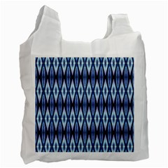 Blue White Diamond Pattern  Recycle Bag (One Side) by Costasonlineshop