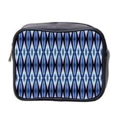 Blue White Diamond Pattern  Mini Toiletries Bag 2 Side by Costasonlineshop